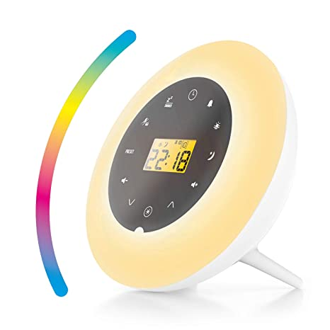 I-STAR Smart Wake Up Alarm Clock - Natural Simulation Touch Control 7-Color Change FM Radio Function Clock for Bedrooms Kids