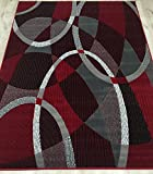 MODERN ABSTRACT CONTEMPORARY SWIRLS CIRCLES PATTERNS AREA RUG RED BURGUNDY GRAY (8 Feet X 10 Feet) Review
