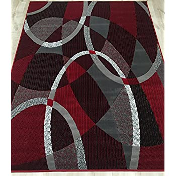 MODERN ABSTRACT CONTEMPORARY SWIRLS CIRCLES PATTERNS AREA RUG RED BURGUNDY GRAY 8 Feet X 10