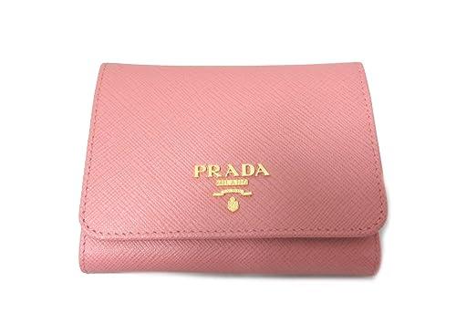 f0733f1df6c6 [プラダ] 1MH176 三つ折り財布 SAFFIANO METAL(サフィアーノ) CAMELIA(ピンク系