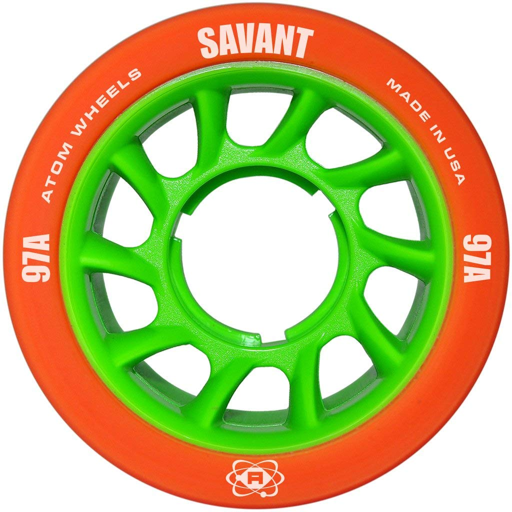 Atom Savant Wheels - Ultra Light For Perfect Speed and Control - New-Available in 88A-97A Pink, Blue, Purple, Black, and Orange (Orange 97A, 8 Pack) by ATOM