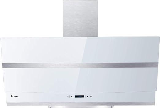 Campana extractora de pared (90 cm, acero inoxidable, vidrio blanco, WIFI, extra silenciosa, 605m³/h, 4 escalones, iluminación LED RGBW, teclas de sensor TouchSelect) HERMES907WM - KKT KOLBE: Amazon.es: Hogar