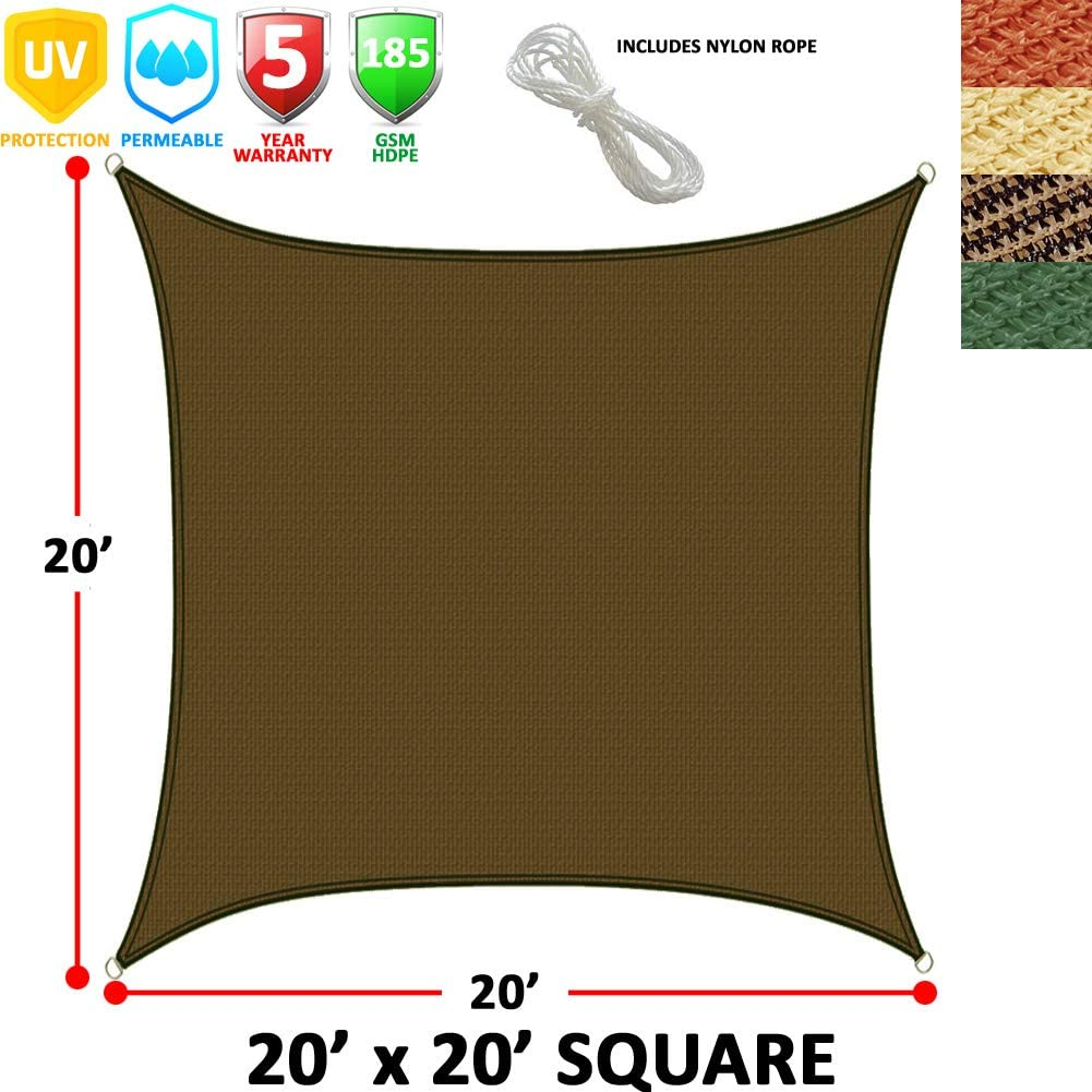 Modern Home Sail Shade Rectangle 20 x 20 – Chocolate