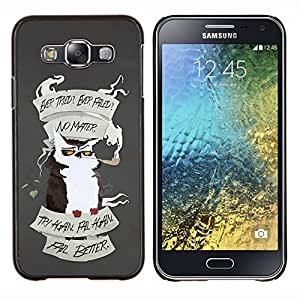 KLONGSHOP // Cubierta de piel con cierre a presión Shell trasero duro de goma Protección Caso - Motivación divertido - Samsung Galaxy E5 E500 //
