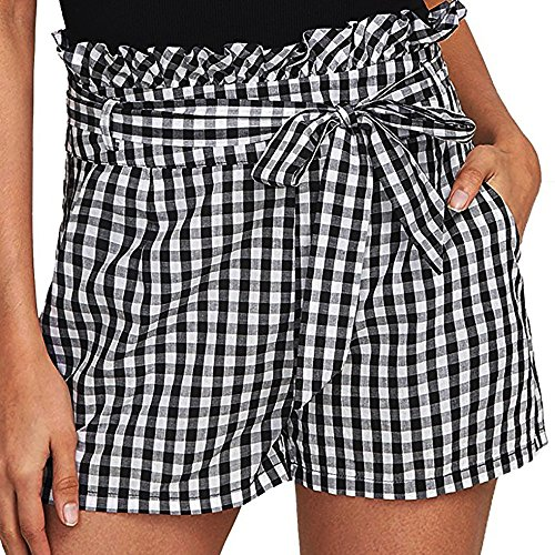 Plaid Wide-Leg Shorts Elastic Waist Pants Pull-On Lace Up Lounge Women Summer Sports Yoga Casual Simple Beach Trouser - Short Evisu Men