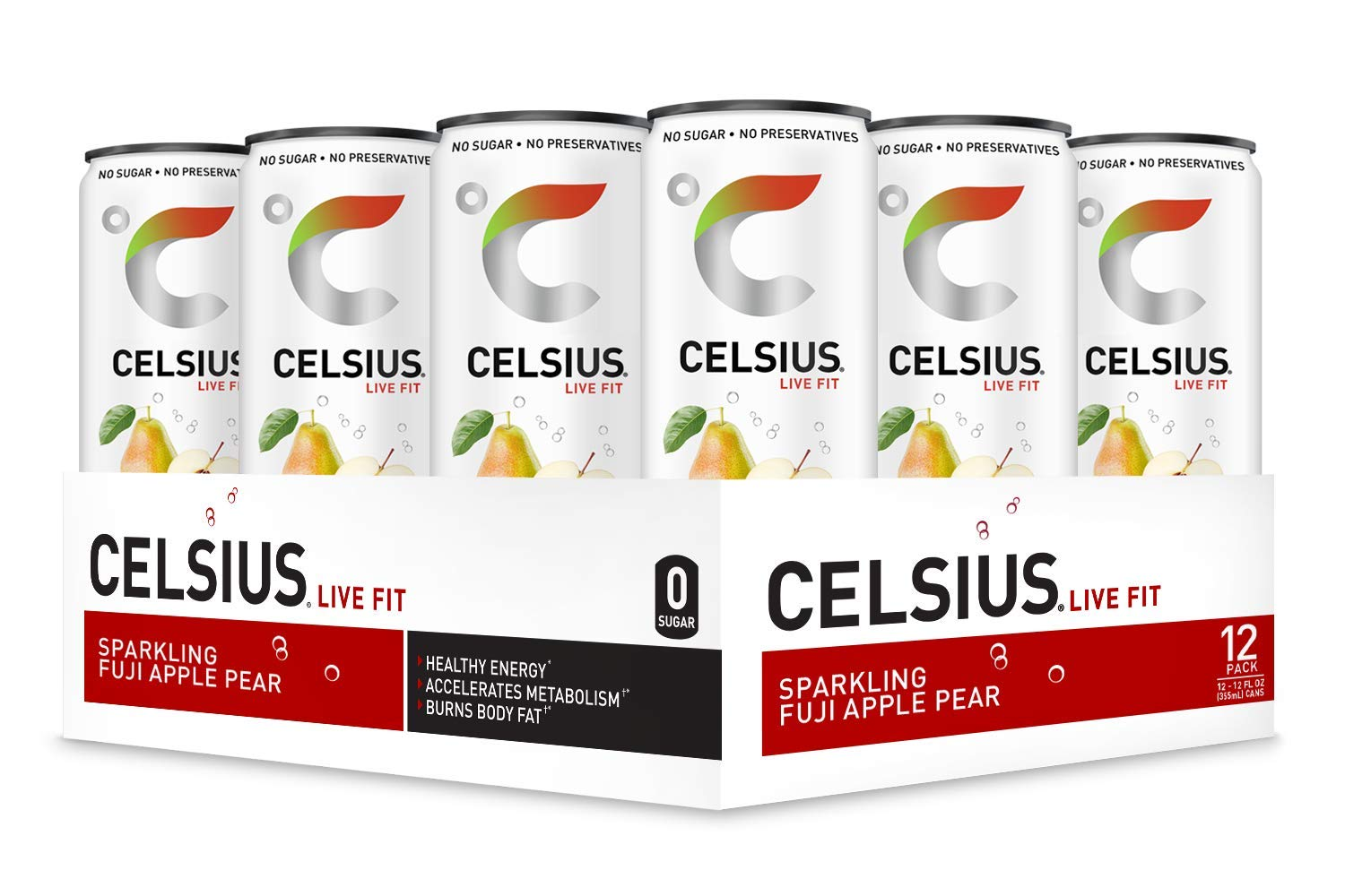 CELSIUS Sparkling Fuji Apple Pear Fitness Drink, Zero Sugar, 12oz. Slim Can, 12 Pack by CELSIUS