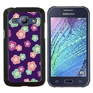 YiPhone /// Prima de resorte delgada de la cubierta del caso de Shell Armor - estampado de flores de color rosa púrpura rojo rosa - Samsung Galaxy J1 J100