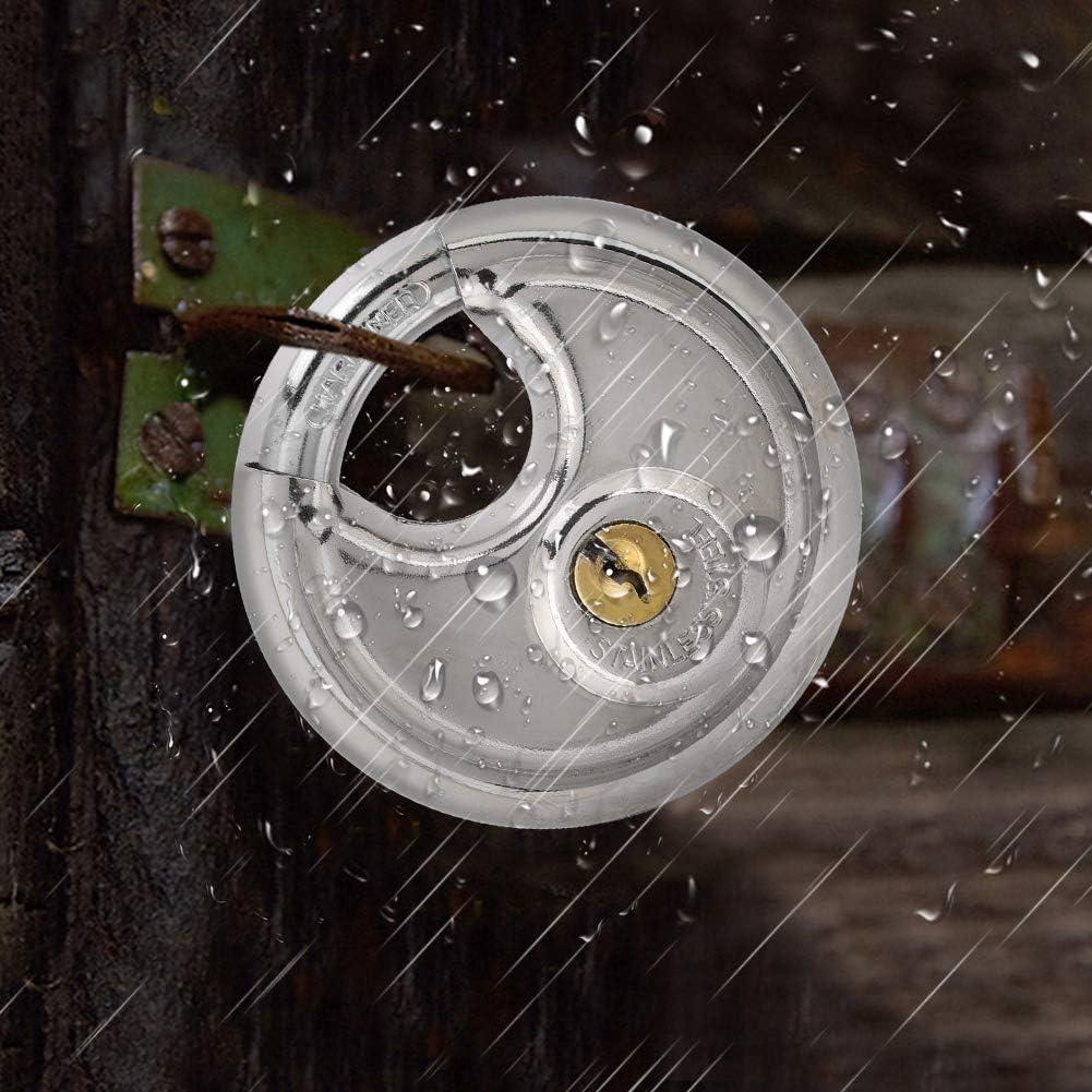 plateado Candado con llave disco redondo de pastel de acero inoxidable candado antirrobo engrosado para la cerradura de alta resistencia de almac/én al aire libre