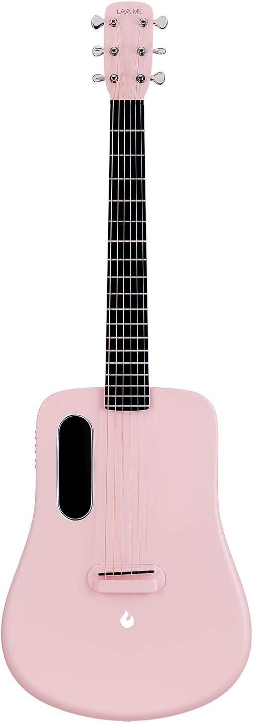 LAVA ME 2 Guitarra de fibra de carbon con efectos Guitarra Acústica Eléctrica de Viaje con bolsa Picks y Cable de carga (FreeBoost, Rosa claro, 36 Inch)