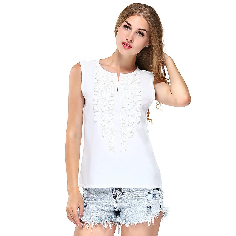 9babd170d3 Amazon.com  FUNOC Womens Solid Ruffle Vest Shirts Summer Chiffon Tops  Blouse White  Clothing
