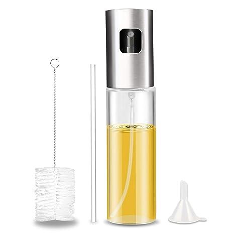 Gifort - Pulverizador de Aceite portátil, 100 ML, Acero Inoxidable, Aceite de Oliva, Botella de Cristal con Cepillo de Tubo Extra y Embudo de Silicona ...