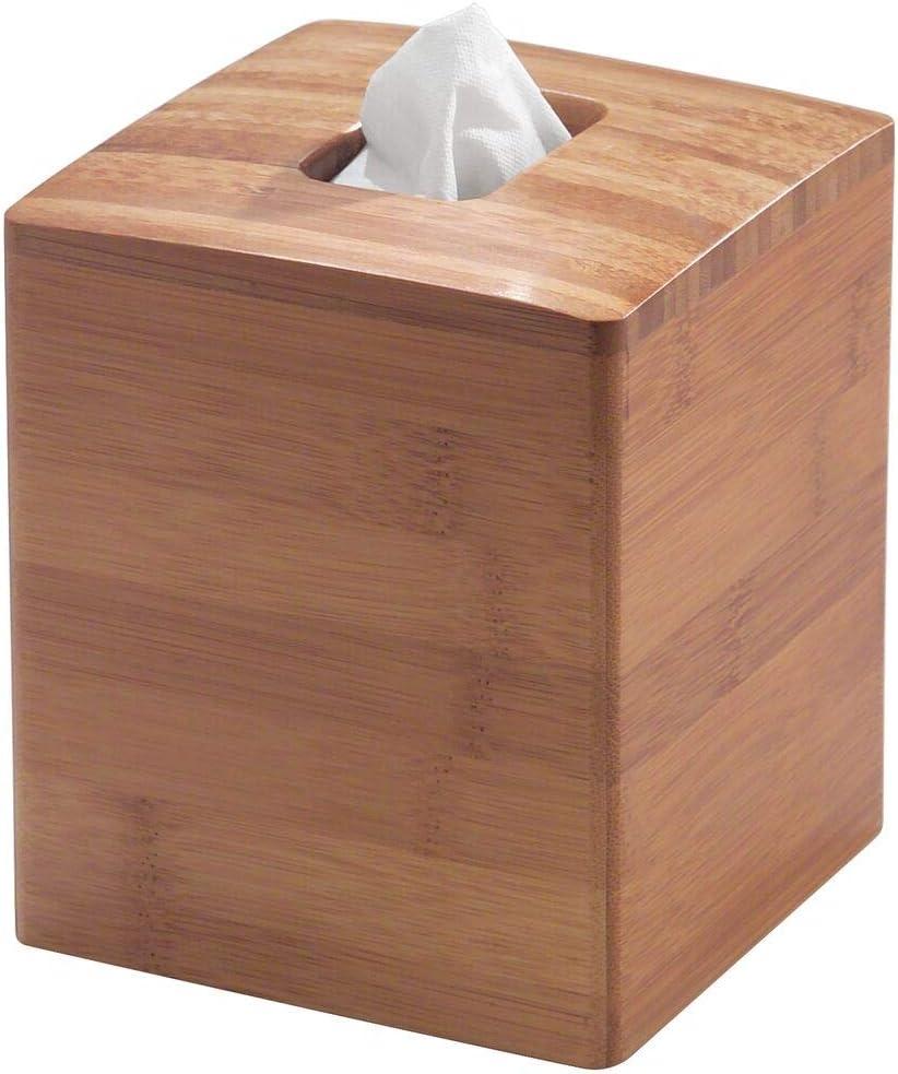 mDesign Juego de 2 dispensadores de pañuelos – Elegantes fundas para cajas de pañuelos cuadradas – Moderna caja para pañuelos de papel en bambú, perfecta para baño, cocina o despacho – color