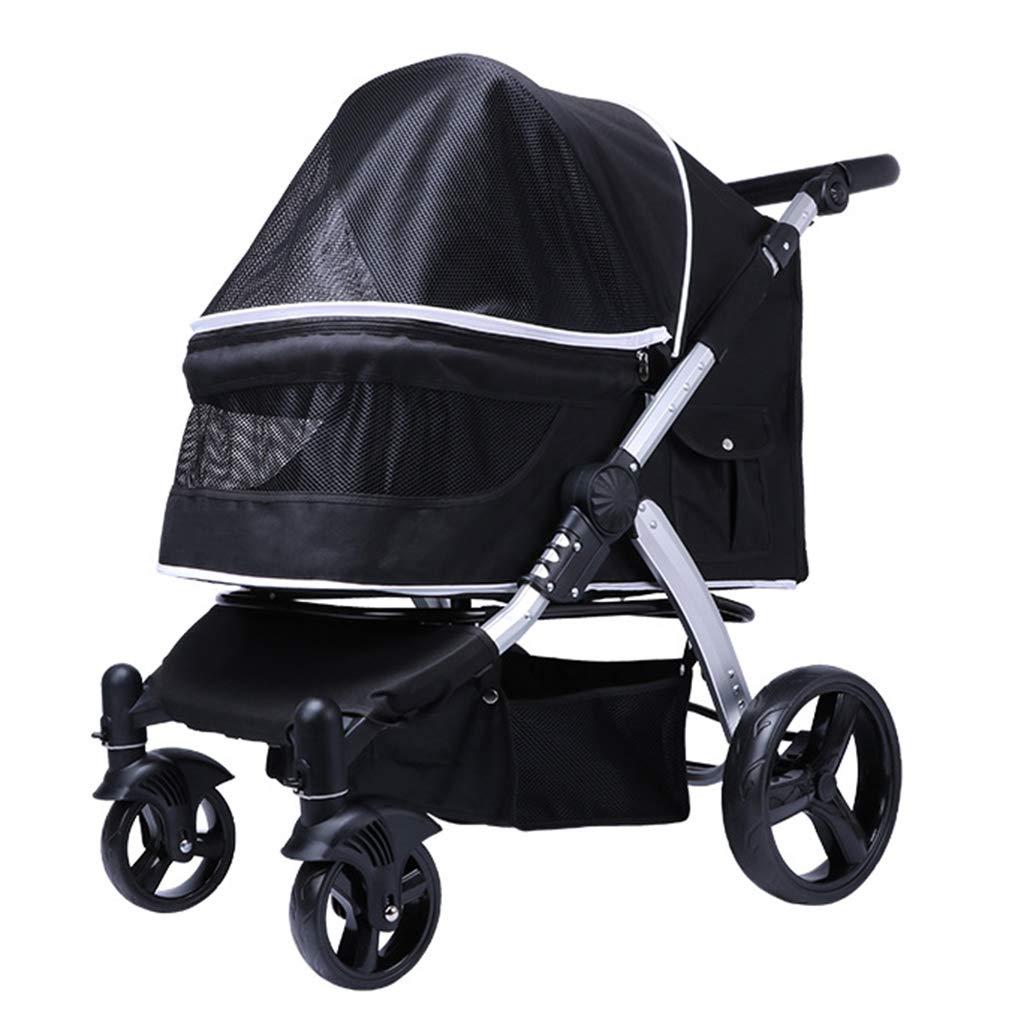 Black Portable Pet Stroller Big Dog Carts Luxury High Landscape Giant Dog Foldable Bearing Weight 35kg 90X67X103cm Black