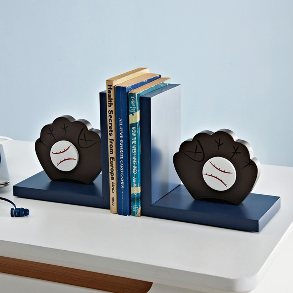 Bookends bookshelves wooden bookcase bookends boy room books storage rack (Color : Blue) by None (Image #5)