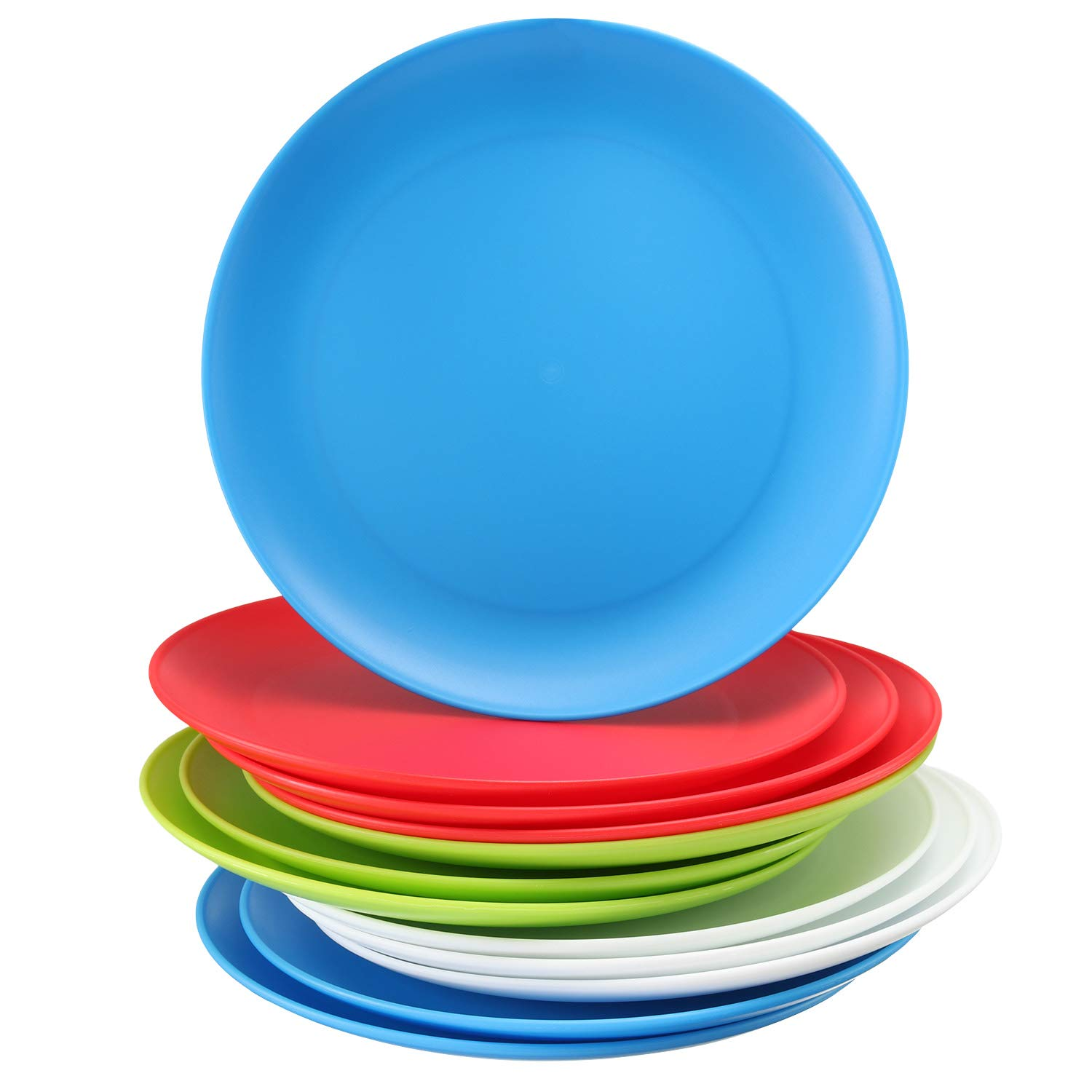 Set of 12 – Plastic Kids Plates - 9 Inch Kid Plates - Reusable Kids plate – Dinner Plastic Plates for Kids - BPA Free Food Safe - Assorted Colors kid Plates - Microwave Dishwasher Safe