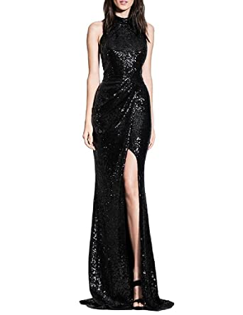 ASBridal Womens Long Sequins Halter Evening Prom Dress Split Party Gowns, Black, ...