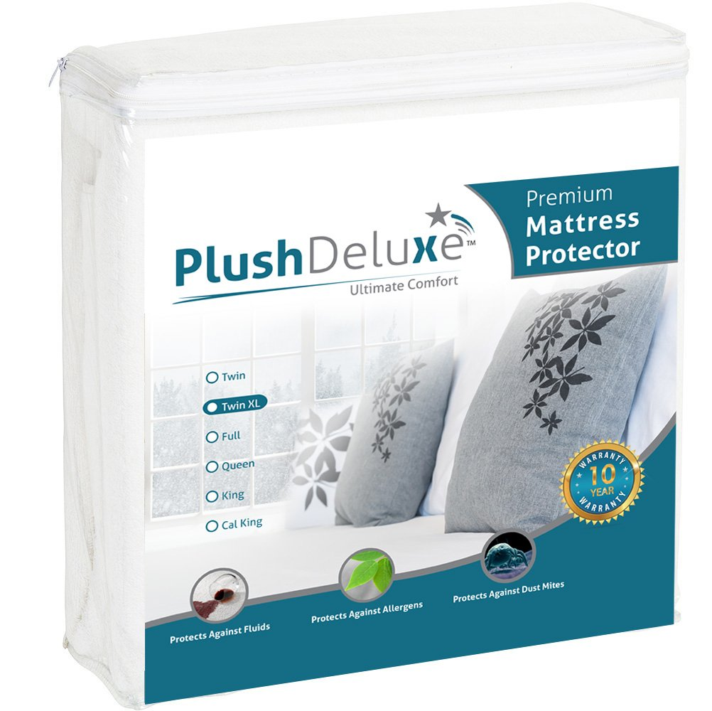 PlushDeluxe Premium 100% Waterproof Mattress Protector Hypoallergenic, Vinyl Free, Breathable Soft Cotton Terry Surface, 10 Year Warranty, Twin X-Large