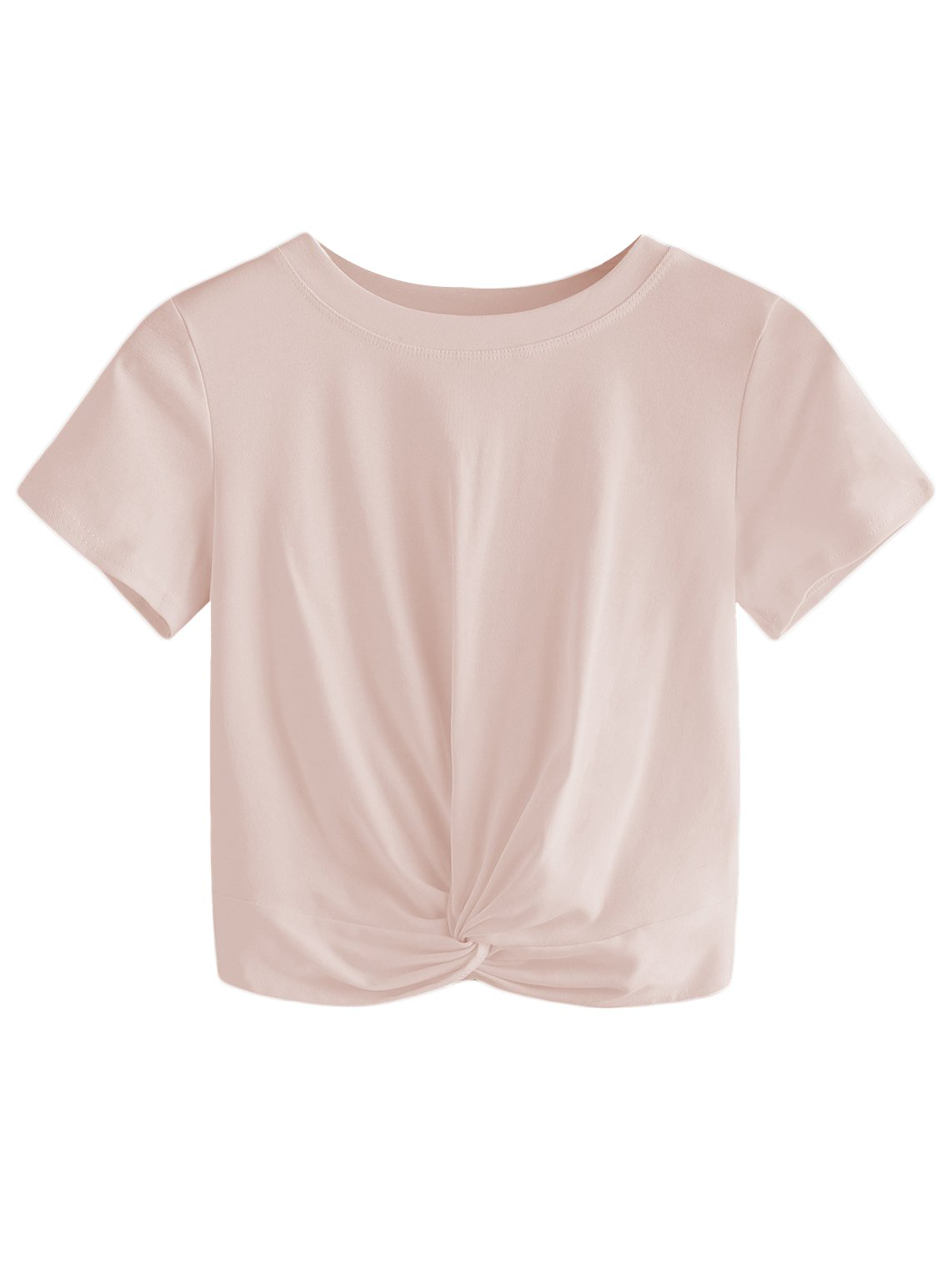 MakeMeChic Women's Summer Crop Top Solid Short Sleeve Twist Front Tee T-Shirt