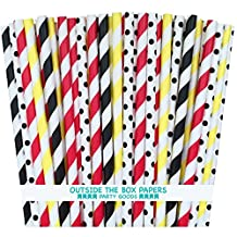 Outside the Box Papers Mickey Mouse Theme Polka Dot and Striped Paper Straws 7.75 Inches 100 Pack Black, Red, Yellow, White