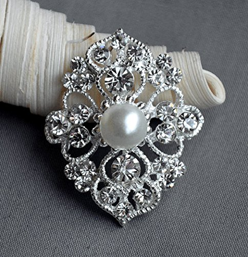 5 Large Rhinestone Button Embellishment Pearl Crystal Wedding Brooch Bouquet Invitation Cake Decoration Hair Comb Clip BT476