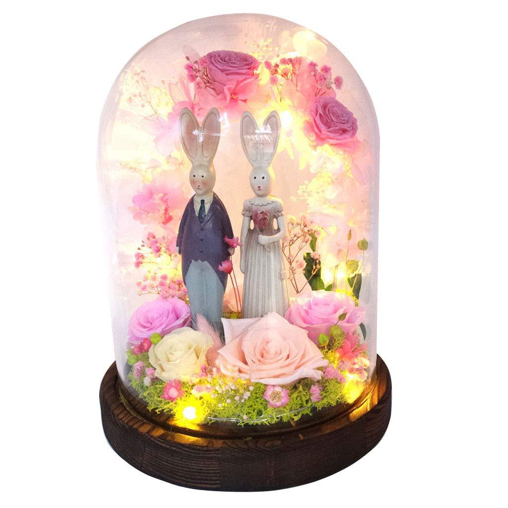 永遠の花ローズ結婚式のギフトグラスカバーバレンタインプレゼントプレゼントカップルギフト (色 : Pink) B07JN5F9L6 Pink