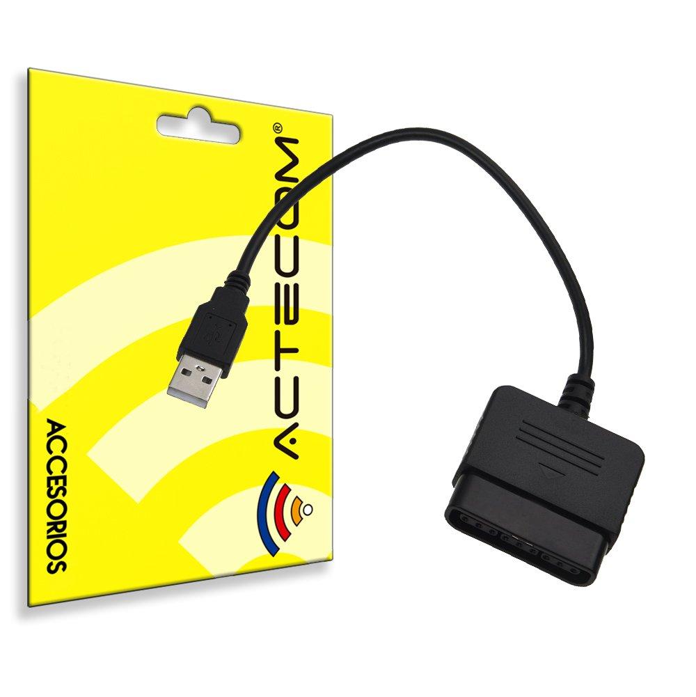 ACTECOM® ADAPTADOR PARA MANDO SIMPLE NEGRO PS1 PS2 a PS3 / PC A USB 362236943859