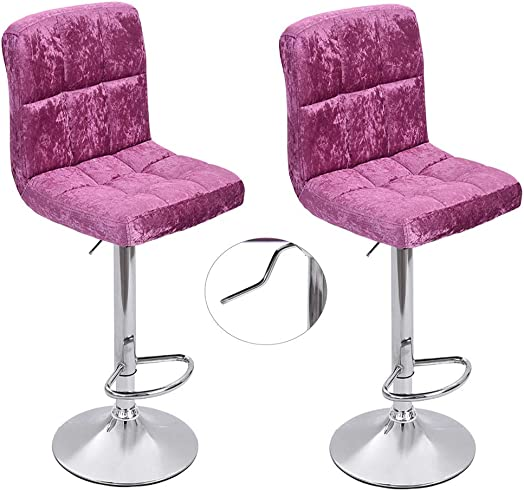 2 Pcs Bar Stools, Modern Swivel Adjustable Barstools, Square Armless Counter Height Snowflake Velvet Bar Stools for Kitchen Dining Living Bistro Pub Chair Counter Back Barstool Hot Pink