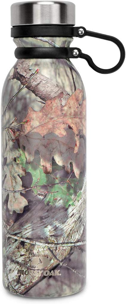 Mossy Oak Vacuum-Insulated Stainless Steel Water Bottle - Double Walled Cola Shape Bottle - 20 Oz, Camo - Keeps Drinks Cold for 24 Hours & Hot for 12 Hours