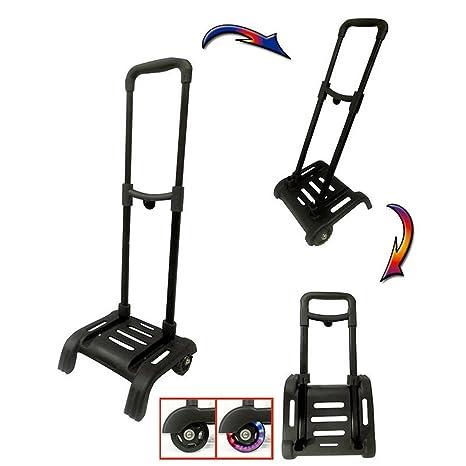 Carro portamochilas plegable con luz en ruedas para mochila grande color negro