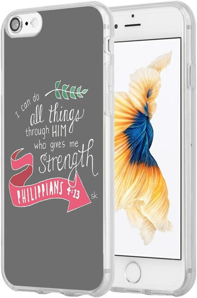 Case for iPhone 8 Bible Verse,Hungo TPU Protective Cover Compatible with iPhone 8/7 / SE 2020 (SE 2) Christian Sayings I Can Do All Things Through Christ Who Gives Me Strength Phillippians