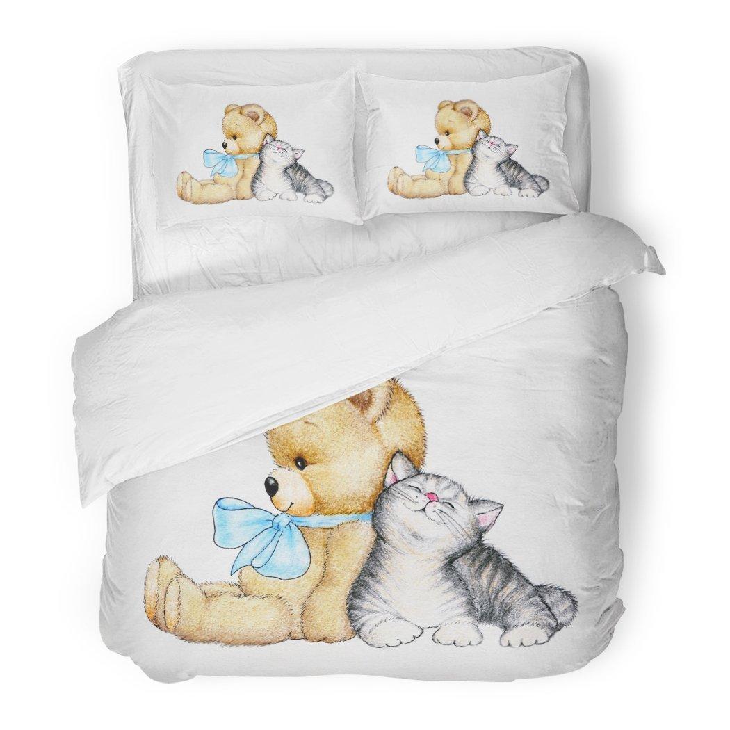SanChic Duvet Cover Set Love Teddy Bear Cute Kitten Birthday Child Cat Color Sketch Decorative Bedding Set Pillow Sham Twin Size