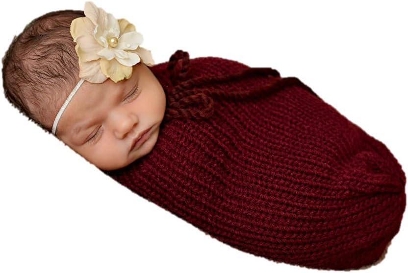 recién nacido Baby Girl/Boy Crochet Knit Costume Foto Fotografía Prop sombreros trajes (Baby Cocoon Red)