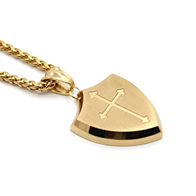 Amazon mens gold shield armor of god joshua 19bfaith cross mens gold shield armor of god joshua 19bfaith cross stainless steel pendant aloadofball Choice Image
