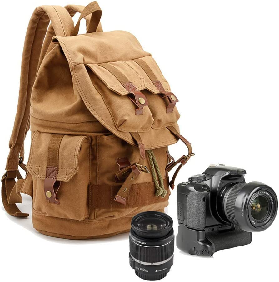 Outdoor Business Trip Very Practical Gift Color : Khaki LORGDFDF SLR Canvas Camera Bag Waterproof Backpack SLR Camera Bag Shoulder Photography Backpack