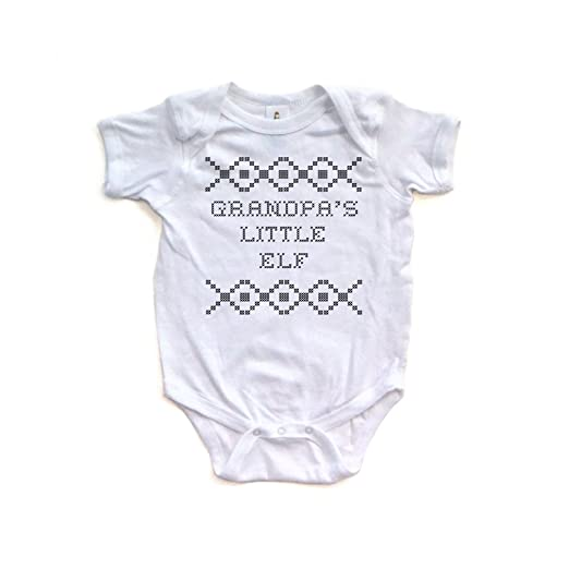 """c262f5f6d Apericots Cross Stitch Holiday Sweater Inspired """"Grandpa's Little Elf""""  Funny Cute Christmas Xmas Baby Short Sleeve Soft Cotton Bodysuit"""