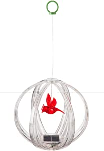 Evergreen Garden Beautiful Colorful Cardinal Solar Sphere Shaped Hanging Mobile - 10 x 10 x 10 Inches Fade and Weather Resistant Outdoor Decoration for Homes, Yards and Gardens