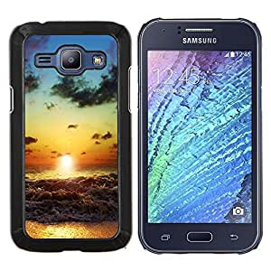 Qstar Arte & diseño plástico duro Fundas Cover Cubre Hard Case Cover para Samsung Galaxy J1 J100 (Beach Sunset Waves)