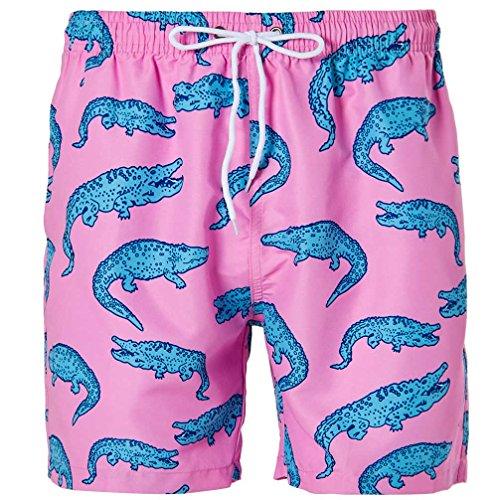 Women's Swim Trunks Funny Printed Boardshorts Crocodile Swim Shorts Quick Dry Beach Shorts M
