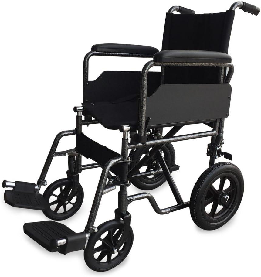 Mobiclinic, Modelo S230, Silla de ruedas para minusválidos y ancianos, de tránsito, plegable, ortopédica, reposapiés, reposabrazos, acero, ligera, negro, asiento 46 cm