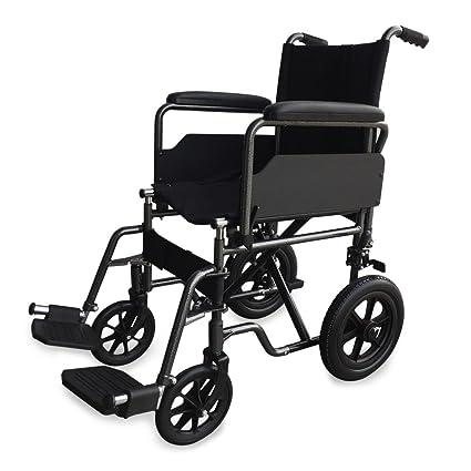 Silla de ruedas de acero, plegable | Con reposapiés y reposabrazos extraíbles | Ancho de