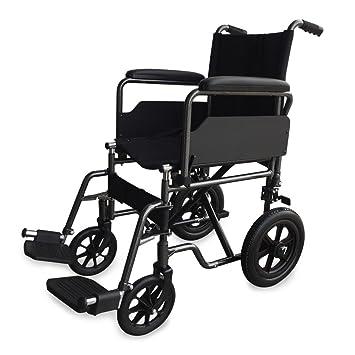 Mobiclinic Silla de Ruedas de Acero | Plegable | De Paseo | Manual | para Mayores | para discapacitados | con reposapiés y reposabrazos extraíbles: ...