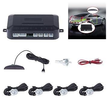 Konesky Sistema de Radar de Reserva inversa de estacionamiento del vehículo, Kit de inversión del Sensor de Seguridad del vehículo con Alarma de 4 sensores ...
