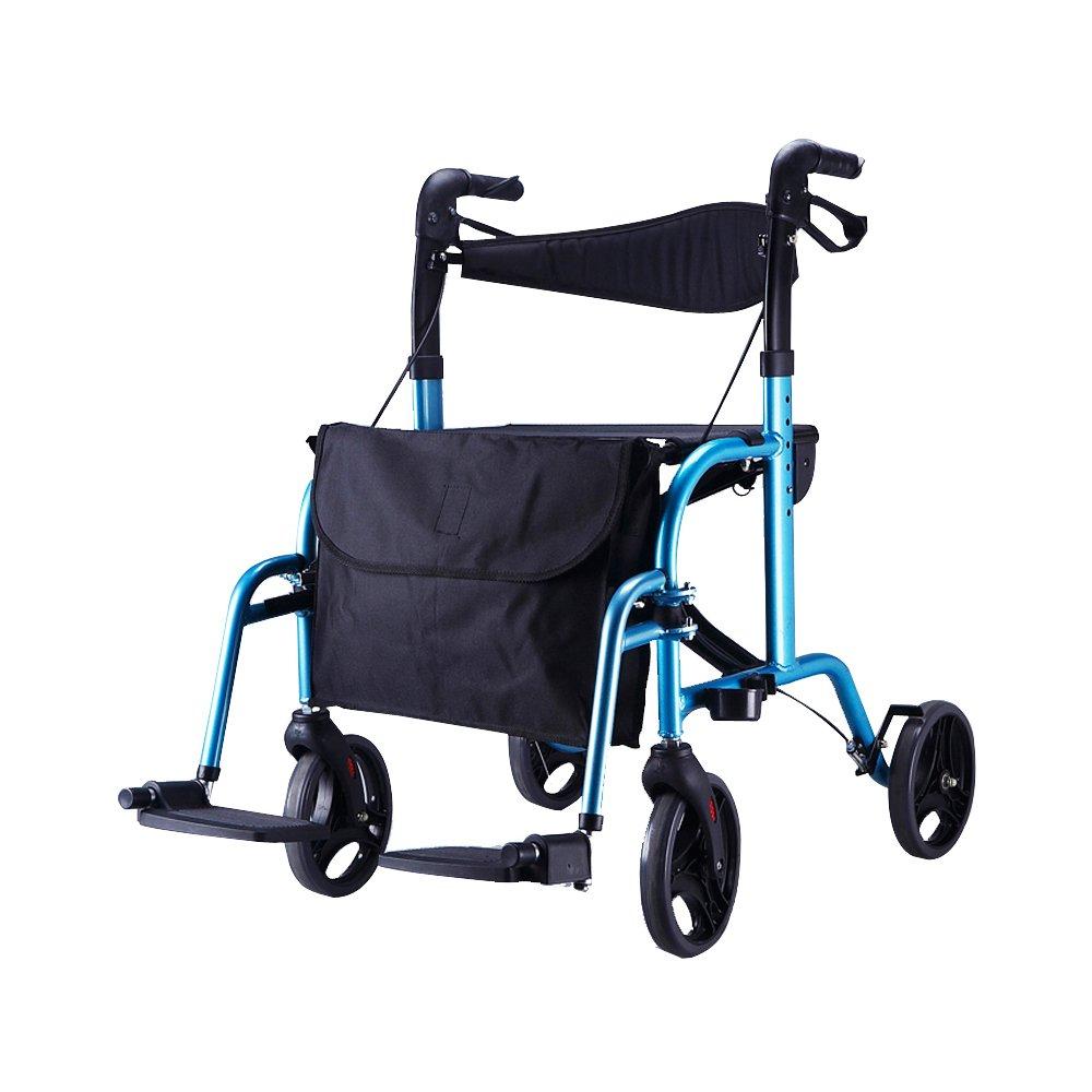 毎日 車椅子折りたたみ式、アルミニウム合金、障害のある高齢者、ショッピングカート、シートベルト付補助ホイールリハビリ用具 B07D6PRYQG