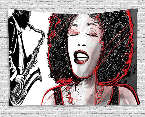 Afro Decor Tapestry by Ambesonne, African American Girl Singing with Saxophone Player Popular Sound Design, Wall Hanging for Bedroom Living Room Dorm, 60 W X 40 L Inches, Black Light Grey