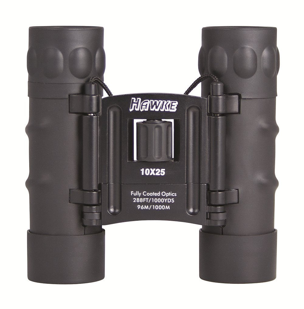 Hawke Sport Optics Compact 10x25 Binoculars with Strap And Case Rubber Coated
