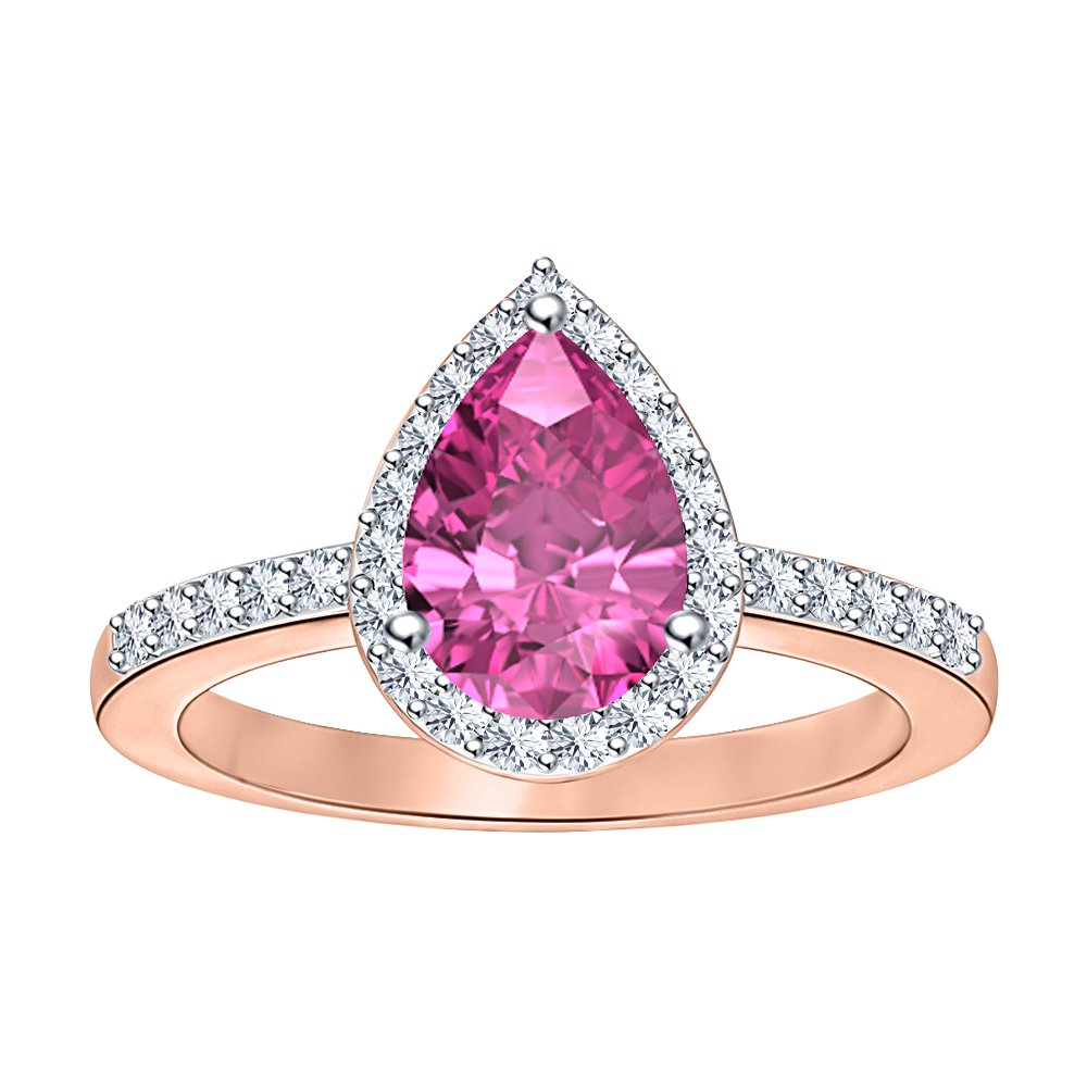 RUDRAFASHION 1.75ctw Pear Shaped Created Pink Sapphire /& White CZ 14k Rose Gold Over .925 Sterling Silver Halo Teardrop Engagement Ring For Women