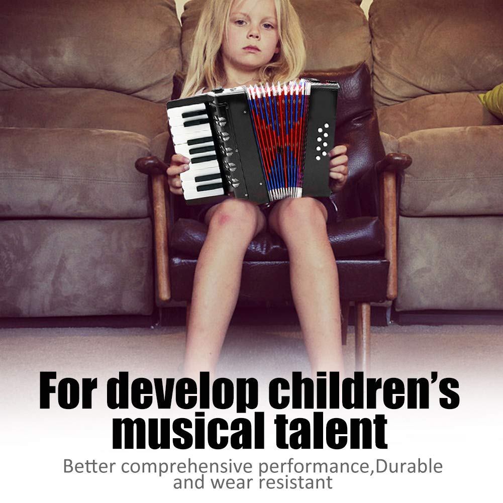 Children Accordion Instrument,Christmas Kids 17-Key 8 Bass Mini Accordion Educational Piano Percussion Accordion Musical Toy Gift(Black) by Alomejor (Image #6)