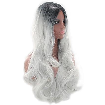 Peluca sintética jian ondulada cuerpo ondas resistente al calor Ombre pelo rubio de las mujeres sin