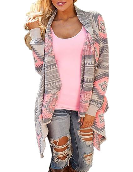 ... Mujer Moda Impresión Tejer Suéter Cardigan Outerwear Sweater Tops Coat  Casual Manga Larga Chaqueta de Punto Ropa de Abrigo Jerséis Rebeca  Amazon. es  ... 7797c9f3a3e0