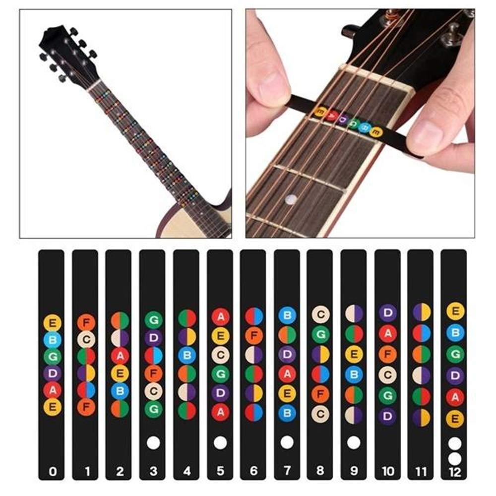 Guitarra Adhesivos Pegatina del Etiqueta Principiante Ejercicio adecuado para guitarra acústica eléctrica de 6 cuerdas: Amazon.es: Instrumentos musicales